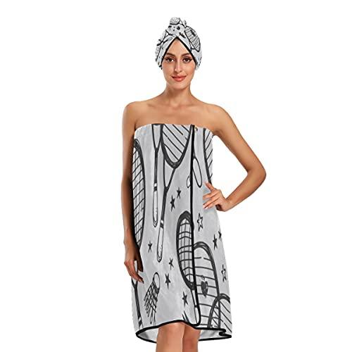 Lot de 3 serviettes de bain réglables pour femme en forme de raquette de badminton et de tennis