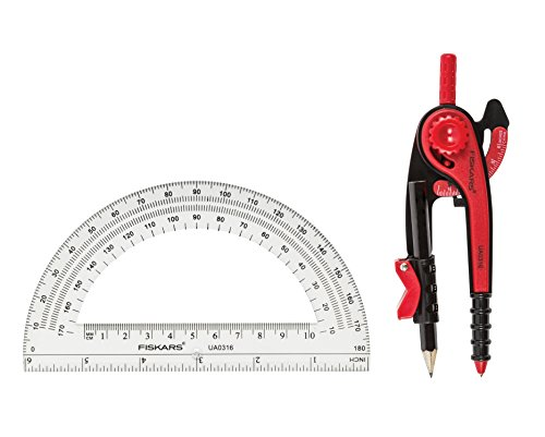 Fiskars 1565901000 Compass and Protractor Set, Color Received May Vary