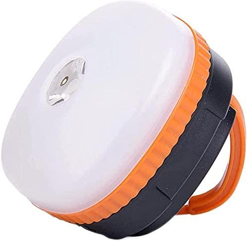 Luz LED para camping recargable y portátil, 4 modos de luz con base magnética, color naranja