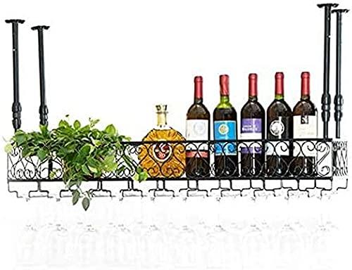 Porta-vinhos Teto Porta-vinhos, Bar, Restaurante, Suspensão, Porta-copos, Metal Ferro Prateleira de armazenamento Vinho Taças de taças de champanhe Suporte para garrafa de vinho para a famíl