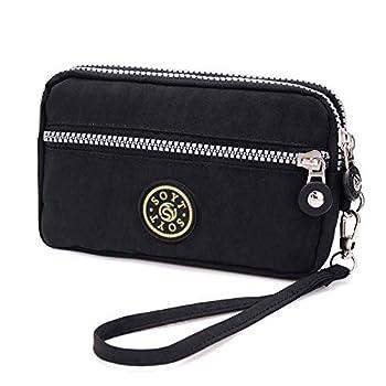 3 Layers Zipper Wallet Purse Waterproof Nylon Handbag Cellphone Bag Storage Pouch Case with Wrist Strap for Apple iPhone Samsung/Key Money MP3 Card Under 6