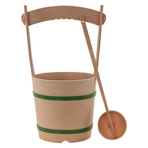 【お仏壇のはせがわ】 墓参用品 手桶 ひしゃくセット 手桶セット 大 タガ 緑 プラスチック お盆 お彼岸 法事