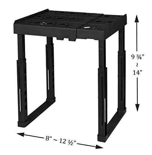 "Tools for School Locker Shelf. Adjustable Width 8"" - 12 1/2"" and Height 9 3/4"" - 14"". Stackable and Heavy Duty. Ideal for School, Work and Gym Lockers (Black)"