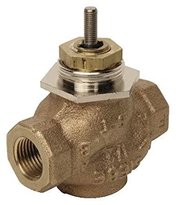 """Schneider Electric VB-7223-0-4-08 Series Vb-7000 Two-Way Globe Valve Body, Npt Threaded Straight Pipe End Connection, Stem Up Closed, Brass Plug, 1"""" Port Size from Schneider Electric Buildings"""