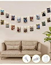 Kolpop Ljusslinga med 50 LED-lampor, 30 fotoklämmor, 5 m, inomhus, batteridriven, koppar, hängande fotovisning för sovrum, födelsedag, bröllopsfest, juldekorationer