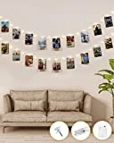 Kolpop Guirlande Photo 50LED Guirlande Lumineuse Interieur Photo Chambre LED Avec 30 Photo Clips Batterie Alimenté Guirlande Lumineuse Pince Photo Decoration Chambre Accroche Photo,Fête, Blanc Chaud