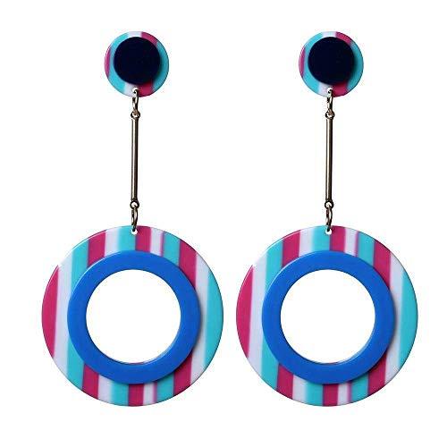 JIAJBG Pendientes Hechos a Mano Forma Redonda Earings Acrílicos Pendientes a Rayas Pendientes Creativos Pendientes de Resina Regalos para Mujeres Decoraciones/C