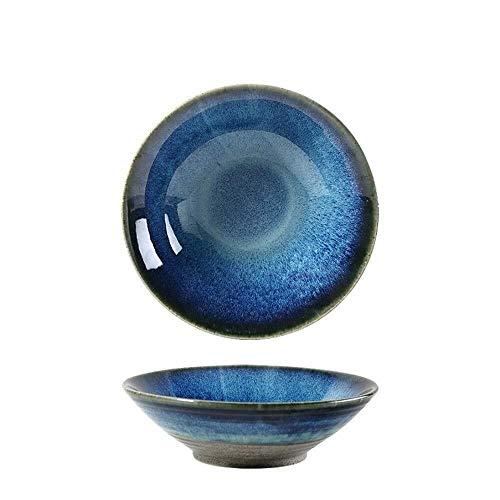 XUSHEN-HU Cerámica creativa cerámica occidental plato de ensalada de frutas disco europeo azul claro hogar vajilla horno azul 8 pulgadas vintage