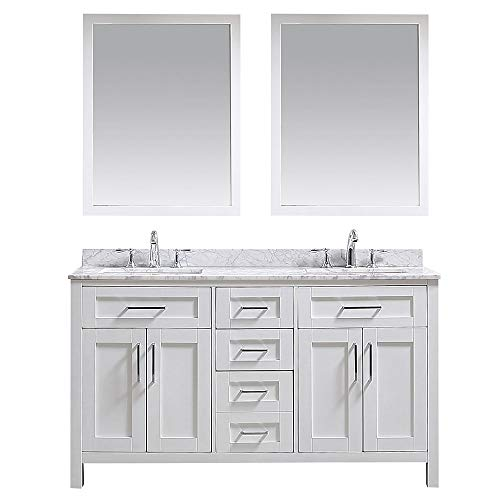 Ove Decors White Maya 60 Double Vanity with Carrara Marble Top, Backsplash and Two Mirrors, 60 inches