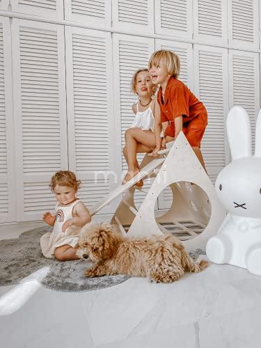 MAMI | Triangolo di Pikler per Bambini | Struttura per Arrampicata da Interno | Realizzato in Legno Naturale | Scivolo Incluso | 100% Made in Italy