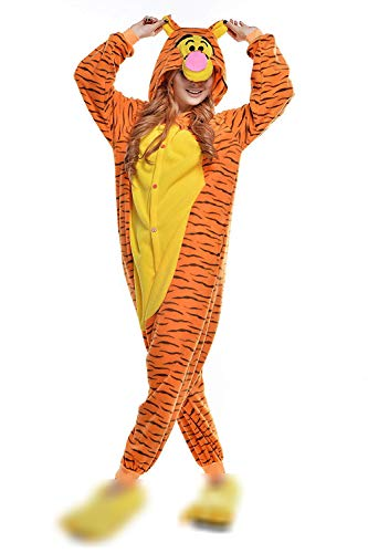Costume d'animal Adulte Unisexe Cosplay Combinaison Pyjama Tenue Nuit v괥ments Onesie Costume Halloween Partie de Fantaisie,S,Orange-Orange Tigger