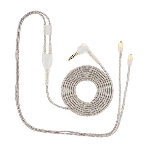 Hoofdtelefoonkabel, 3,5 mm vergulde gevlochten koptelefoon Vervanging audiokabel verlengsnoer, voor SE215/SE425/SE535/SE846/UE900(Transperant zonder microfoon)