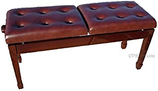 Adjustable Deluxe Duet Two Seated Double Artist Piano Bench Stool in Walnut