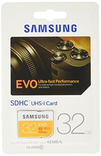Samsung Speicherkarte SDHC 32GB GB EVO UHS-I Grade 1 Class 10 für Foto und Video Kameras (bis zu 48MB/s Transfergeschwindigkeit)