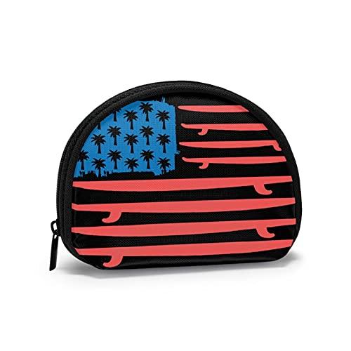 Coin Purses Tropical USA Flag Pouches for Purse Children Cute Bag Cash Holder Portable Mini Change Wallets for Women Girls 4.7 X 3.5 Inch