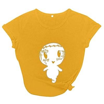 Amober Women's Cute Summer Short Sleeve T Shirt Casual Blouse Halloween Print Tops Yellow
