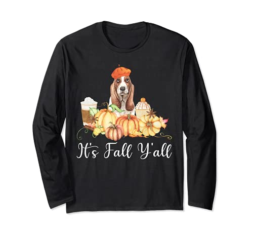 It's Fall Y'all Funny Dog Lover Basset Hound Autumn Pumpkin Manga Larga