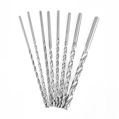 8PCS Extra Long HSS Twist Drill Bit Set High-Speed Steel Tools 4-10mm for Wood, Quick Change