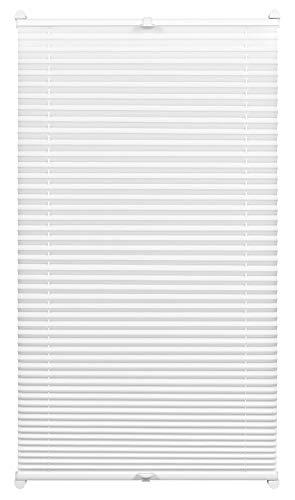 GARDINIA Plissee zum Klemmen, Blickdichtes Faltrollo, Alle Montage-Teile inklusive, EASYFIX Plissee verspannt mit zwei Bedienschienen, Weiß, 55 x 130 cm (BxH)