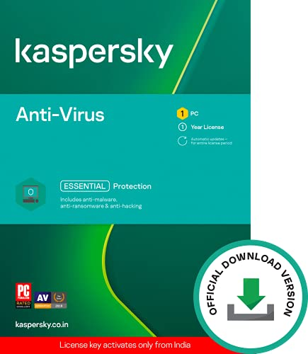 Kaspersky Anti-Virus Latest Version- 1 PC, 1 Year (Code emailed in 2 Hours – No CD)