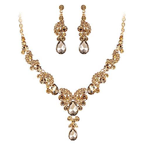 EVER FAITH Austrian Crystal Gorgeous Wedding Floral Wave Teardrop Necklace Earrings Set Brown Gold-Tone