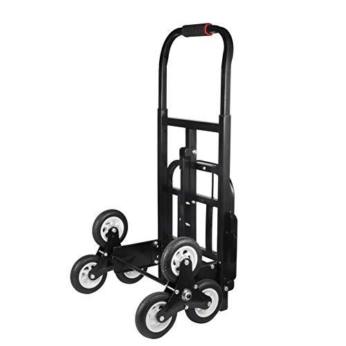 Carretilla para escaleras, hasta 200 kg, plegable, 6 ruedas, color negro