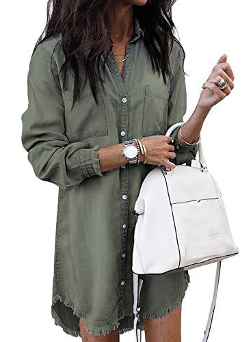 Aleumdr Bluse Damen Langarm Hemdbluse Jeanshemd Damen | Jeanskleider Damen lang Blusenkleid Lose Denimkleid-A Grün-XL