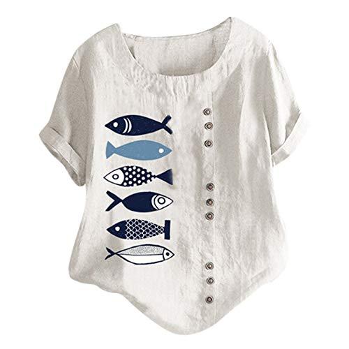 YinGTral Damen Sommer lässig O-Ausschnitt Kurzarm Blumendruck Loose Shirt Bluse Tops