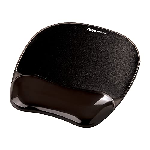 Fellowes Tappetino mouse con poggiapolso in gel Crystals, nero