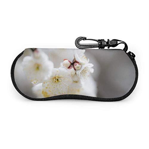 Gafas de sol de flor de ciruelo amarillo blanco con hebilla de bloqueo Bolsa suave Funda de gafas con cremallera de tela de buceo ultraligera