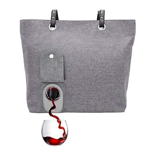 PortoVino City Wine Tote (Ash) - Fashionable Wine Purse with Hidden,...