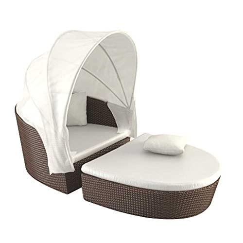 Bali Day Bed Muebles de jardín al Aire Libre con Dosel retráctil Conjunto de sofá seccional Patio Rattan Daybed Resina Mimbre Patio sofá Conjunto Tumbona Sol