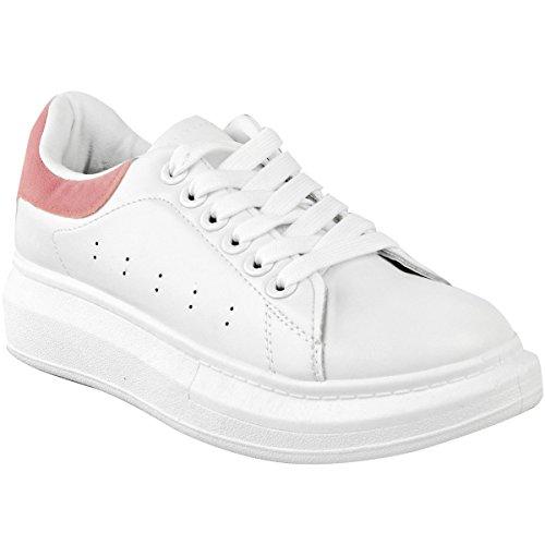 Heelberry Mujer en Blanco Alex Grande Grueso Zapatillas Suela de Goma Zapatillas Nuevos Zapatos Talla