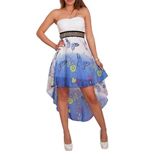 Sexy Chiffon Bandeau Kleid Vokuhila Strass Spitze Cocktailkleid Partykleid Neu (Schmetterling Blau) | Bekleidung > Kleider > Bandeaukleider | Fashion