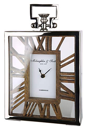 GILDE Uhr - Metall Standuhr mit Holz für eine AA Batterie H 34 cm