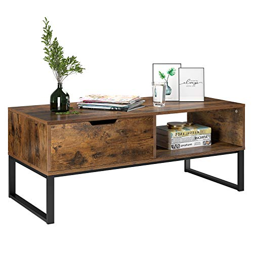 Homfa TV Stand Console Table Entertainment Centre TV Cabinet Coffee Table Industrial Side Table End Table with 1 Drawer 106x48x43cm