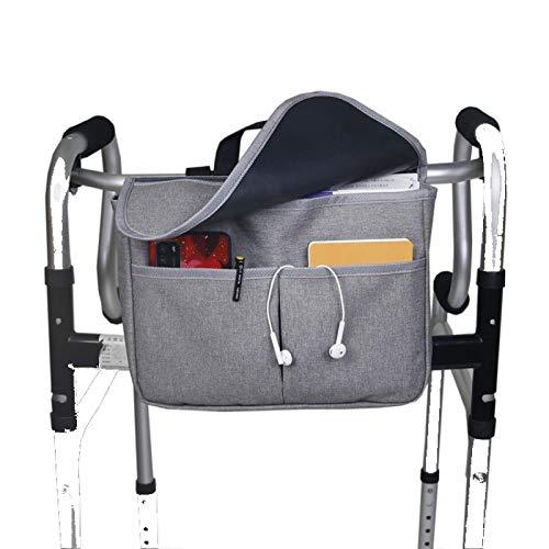 Rollstuhltasche Für Armlehne, Gehrahmen Tasche Mit 4 Taschen, Für ältere Menschen,Behindert, 600D Oxford Grau 30 * 22cm