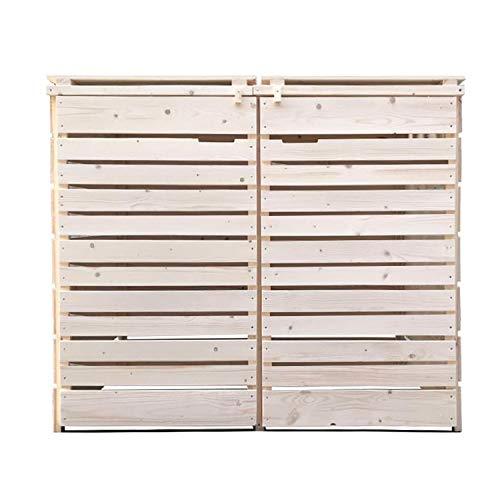 Lukadria Mülltonnenbox Mülltonnenverkleidung Mülltonnecontainer Holz 120L - 240L Natur mit Rückwand Modell HH (2 Tonnen)