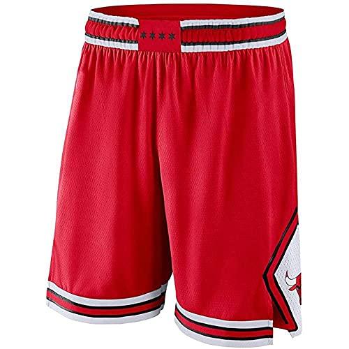 ZHOUJEE Bulls N.23 - Pantalones cortos de baloncesto para hombre, diseño de rayas bordadas, color negro, rojo y blanco, rojo, S