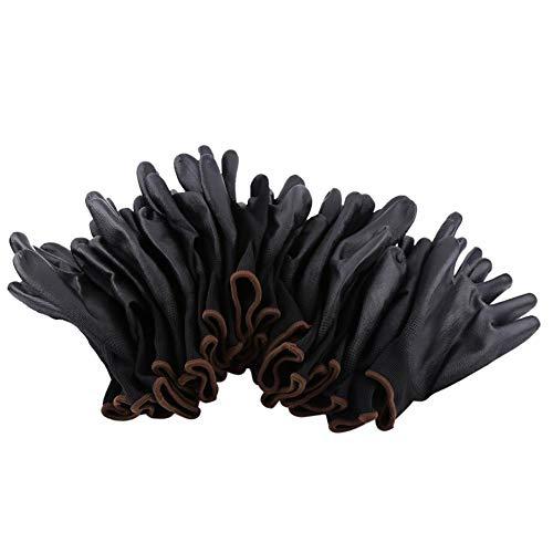 Fydun 12 pares de guantes de trabajo recubiertos con palma de seguridad de nylon negro PU(9L)