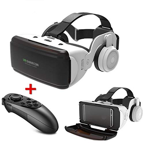 MUXIN 3D VR Brille, HD Virtual Reality 3D VR Headsetmit Bluetooth Controller und Kopfhörer, HD Virtual Reality, Headset für VR Spiele und 3D-Filme, für Android/IOS 4,5-6,5 Zoll Smartphone