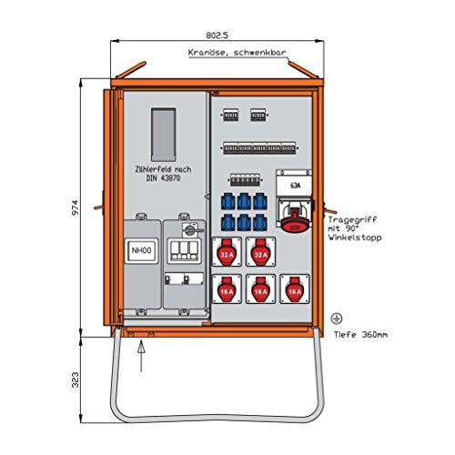 Walther Werke Anschlussverteilerschrank WAV0179R1 55kVA m.Zählerplatz Baustromverteiler 4015609067923