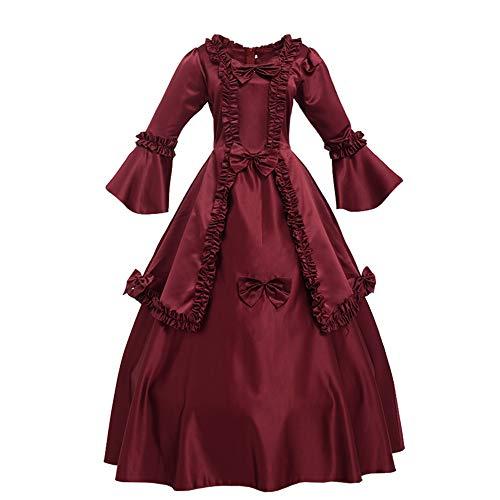 GRACEART Damen Langarm Mittelalter Kleid Gothic Viktorianisches Renaissance Maxi Kostüm (rot, XXL)