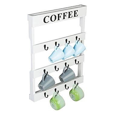 Wall Mounted Wood 12 Hooks Coffee Tea Mug Holder, Kitchen Storage Rack, White