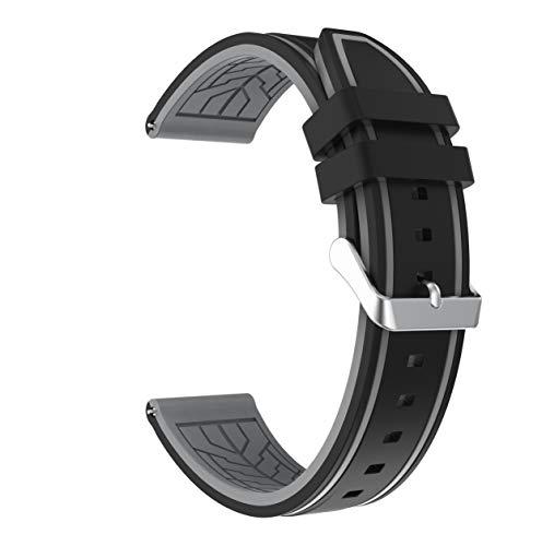 Fmway 22mm Silikon Uhrenband Ersatzarmband mit Edelstahl Metall Schließe für Samsung Galaxy Watch 46mm / Gear S3 Frontier/Gear S3 Classic/Moto 360 2. Generation 46mm / Amazfit (Schwarz + Grau)