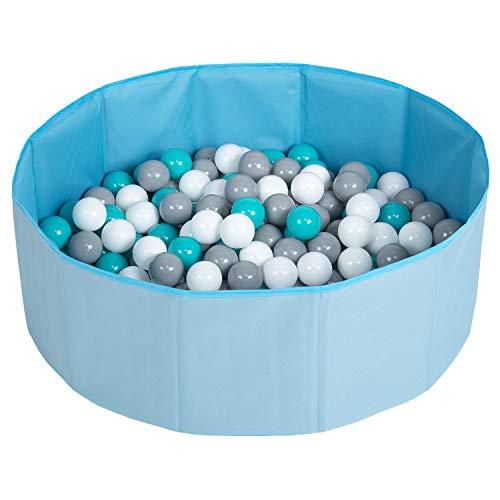 Selonis Piscina Plegable Con Bolas Coloridas De 200 Bolas NZ-78-BLUE, Azul:Blanco/Gris/Turquesa