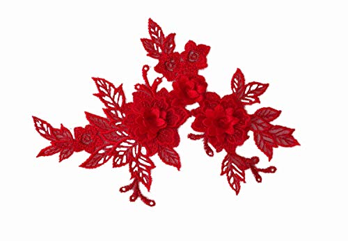 red double layers floral lace applique red floral tulle lace motif red 3d lace applique motif red flowers motifs red embroidered patches flower motif for sewingPer PieceUK Seller