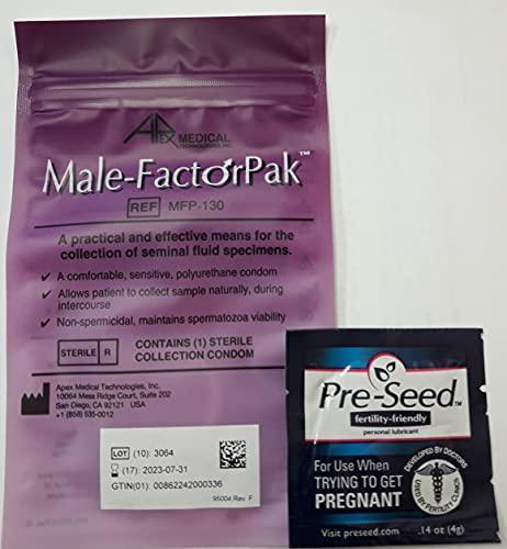 Male-Factor Pak Semen Collection Condom w/One Pre-Seed Lubricant