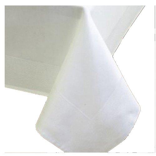 Nappe en damas carrée à 100 % en coton blanc 80 x 80 cm/Bordure blanche en satin, nappes de chez DecoHomeTextil