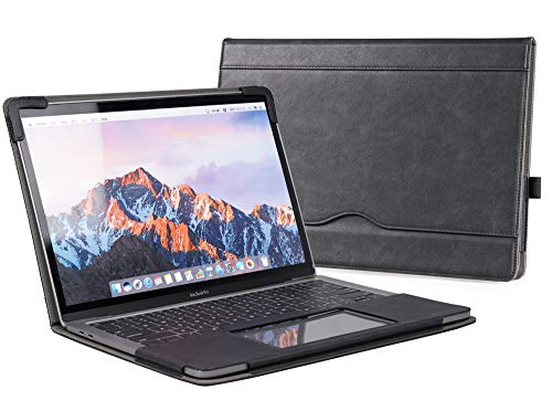 TYTX MacBook Pro Leather Case 13 Inch 2016-2020 (A1989 A1706 A1708 A2159 A2289 A2251 A2338) Laptop Sleeve Protective Folio Book Cover (New MacBook Pro 13', Black)